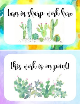 Watercolor Cactus Themed Turn In Basket Labels