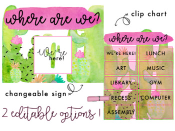 Watercolor Cactus Where Are We? Classroom Signs | 2 Editable Options