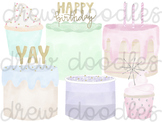 Watercolor Cakes Digital Clip Art Set