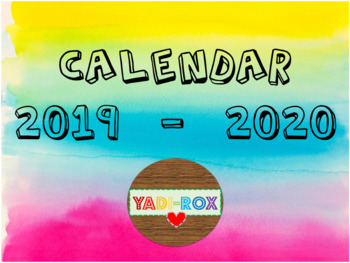 Watercolor Teacher / Staff Calendar 2019 - 2020