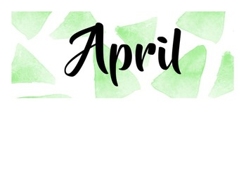 Watercolor Calendar: Days of the Week, Months