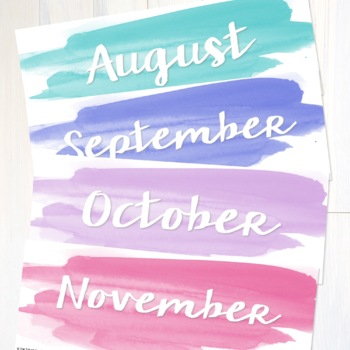 Watercolor Classroom Decor, Calendar, and More