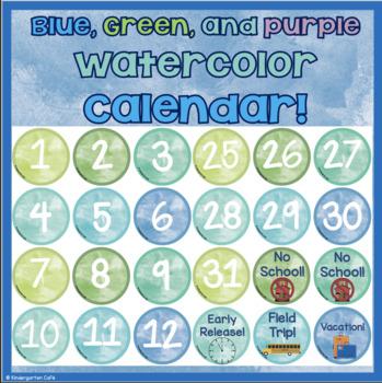 Watercolor Calendar: Green, Blue, and Purple Theme!