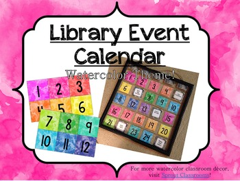 Watercolor Calendar/Library Event Cards