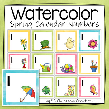 Watercolor Calendar Numbers - Spring Themed