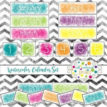 Watercolor Calendar Set