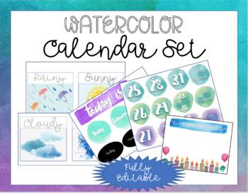 Watercolor Calendar Set