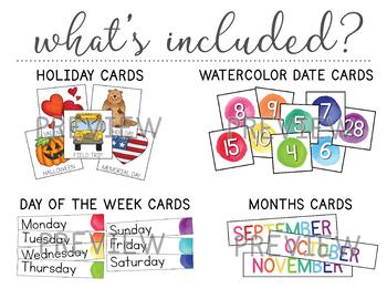 Watercolor Calendar Set   Calendar Kit