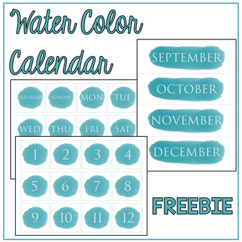 Watercolor Calendar Set: FREEBIE