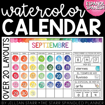 Watercolor Calendar Set (Spanish Version)  | Calendario en Español