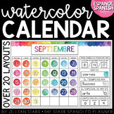 Watercolor Calendar Set (Spanish Version)  | Calendario en
