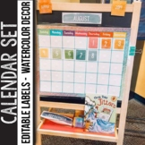 Watercolor Calendar Set -  Watercolor Classroom Decor