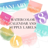 Watercolor Calendar and Supply Labels by Taracotta Sunrise