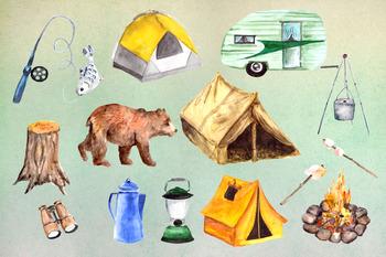 Watercolor Camping Clip Art Set