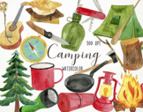 Watercolor Camping Clipart, Camping Graphics, Boy Scouts Clipart