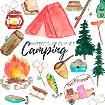 Watercolor Camping Clipart Set - Personal and Commercial Use