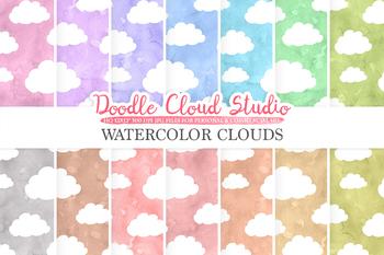 Watercolor Cartoon Clouds digital paper, Cloud pattern, pastel watercolor