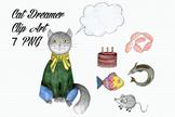 Watercolor Cat Dreamer Clip Art