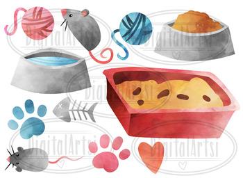 Watercolor Cats Clipart