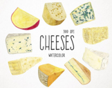 Watercolor Cheeses Clipart, Cheese Graphics, Cooking Clipart, Food Clipart