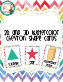 Watercolor Chevron 2D and 3D shape cards