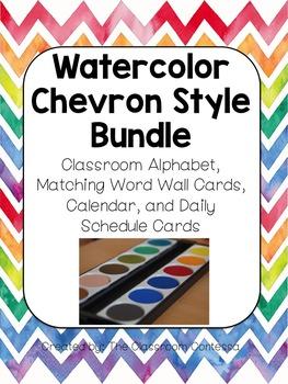 Watercolor Chevron Alphabet, Calendar, and Schedule Cards Bundle