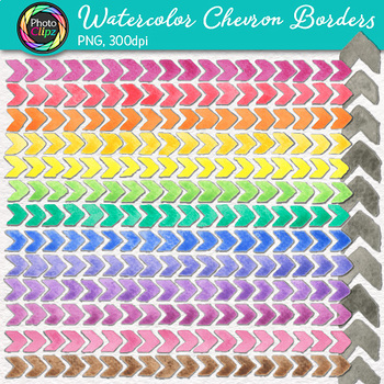 Watercolor Chevron Border Clip Art {14 Hand-Painted Rainbow Page Elements}