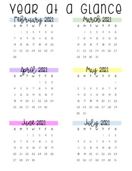 Watercolor Chevron Calendar (Portrait) 2017 - 2018 - Back To School Essential