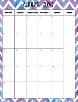 Watercolor Chevron Calendar (Portrait) 2018 - 2019 - Back To School Essential