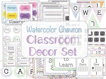 Classroom Decor Set Watercolor Chevron