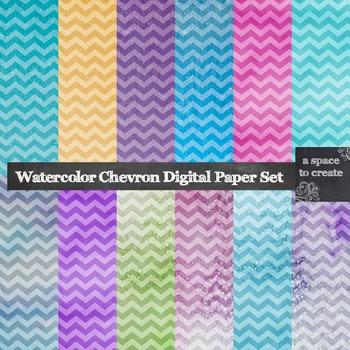 Watercolor Chevron Digital Paper