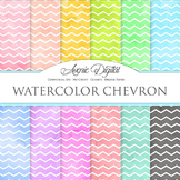 Watercolor Chevron Digital Paper bright watercolour pattern scrapbook background