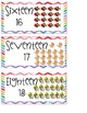 Watercolor Chevron Number Cards