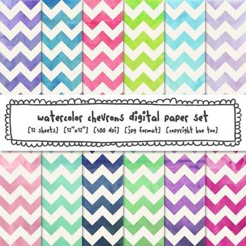 Watercolor Chevrons Digital Paper, Pink, Navy Blue, Purple, Green