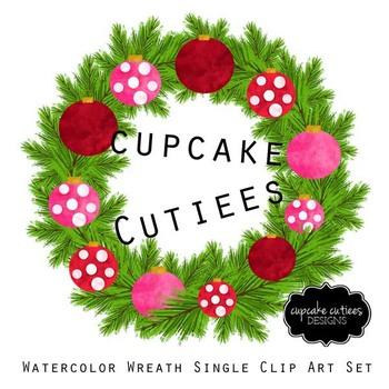 Watercolor Christmas Clip Art Wreath Single Digital Set