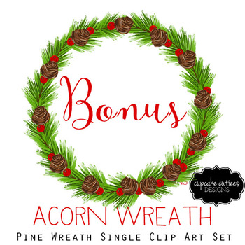Watercolor Christmas Clip Art Wreaths Single Digital Set