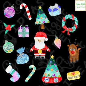 Watercolor Christmas Clipart, Christmas Clip Art, Holiday Clipart, Xmas Graphics