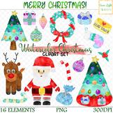 Watercolor Christmas Clipart, Christmas Clip Art, Holiday