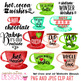 Watercolor Christmas Cocoa Winter Clip Art Word Art Digital Set