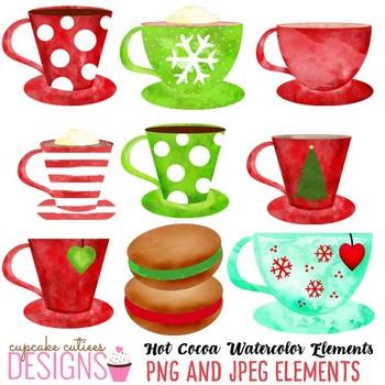 Watercolor Christmas Cocoa Winter Clip Art Digital Set