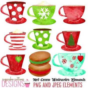 Watercolor Christmas Cocoa Winter Clip Art Digital Set