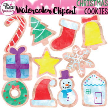Watercolor Christmas Cookie Clipart