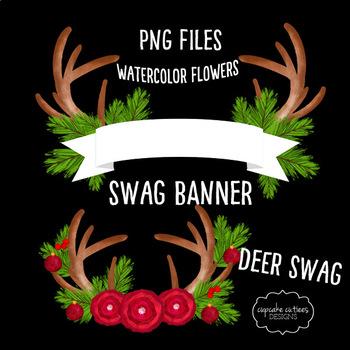 Watercolor Christmas Deer Swag Digital Clip Art Set