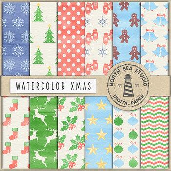 Watercolor Christmas Digital Paper