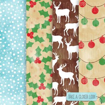 Watercolor Christmas Digital Paper. Snowflake, Gingerbread Patterns- 14 JPEGs