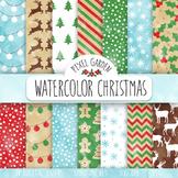 Watercolor Christmas Digital Paper. Snowflake, Gingerbread