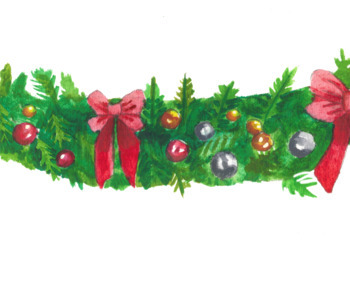 Watercolor Christmas Garland Border