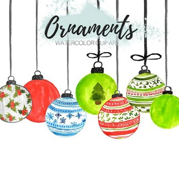 Christmas Clipart Watercolor Christmas clipart Christmas Ornament Printable Christmas ornaments clipart Christmas clipart commercial use