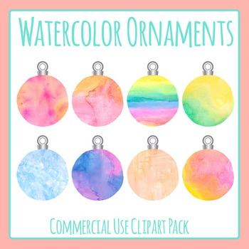 Watercolor Christmas Ornaments / Baubles Commercial Use Clpart