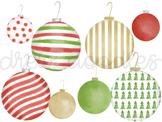 Watercolor Christmas Ornaments Digital Clip Art Set